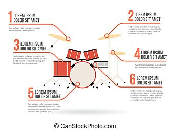 Percussion instruments icon vector infographic