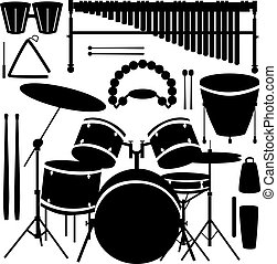 Percussion instruments vector - Drums, cymbals, and...