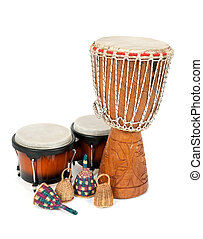 Percussion music instruments: djembe drum, bongos and caxixi...