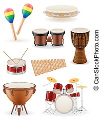 percussion musical instruments set icons stock vector illustration