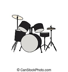 Percussion musical set on a white background. Vector illustration