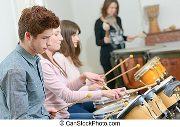 Percussion musicians performing