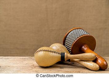 Percussion set - Cabasa, Maracas, Latin percussion on wooden...