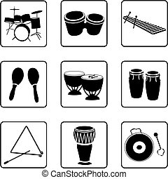 Percussions - Musical instruments black and white...