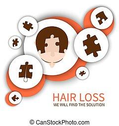 perda cabelo, conceito, solução