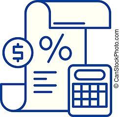 perda, illustration., apartamento, lucro, concept., símbolo, sinal, vetorial, declaração, linha, ícone, esboço