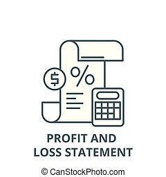 perda, linear, lucro, símbolo, esboço, sinal, vetorial, declaração, ícone, linha, conceito