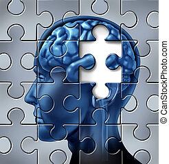 perda memória, e, alzheimer, doença