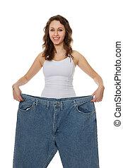 perda, mulher, bonito, peso