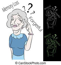perda, mulher sênior, memória