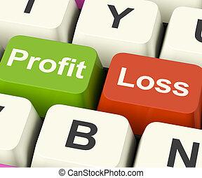 perda, negócio, lucro, mostrando, teclas, rentabilidade,...