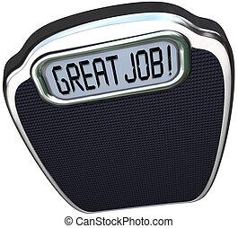 perda, parabéns, escala, meta, peso, alcançar, ou, comunicar, grande, dieta, exposição, elogio, trabalho, palavras, digital, seu