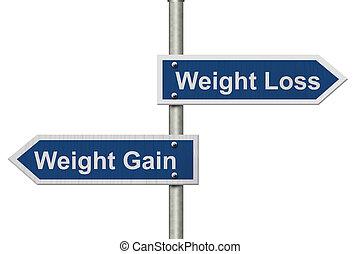 perda peso, contra, ganho peso