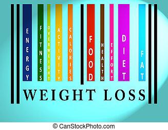 perda peso, palavra, ligado, colorido, barcode
