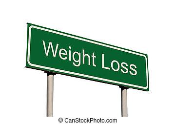 perda peso, verde, sinal estrada, isolado