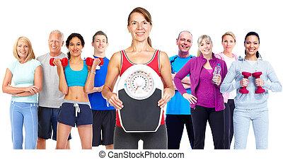 perdendo, group., peso, pessoas