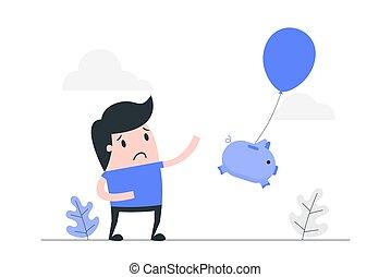 perdendo, illustration., conceito, dinheiro