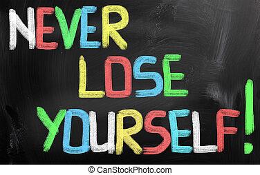 perder, concepto, nunca, usted mismo