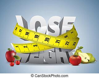 perdere peso, testo, con, misura, nastro