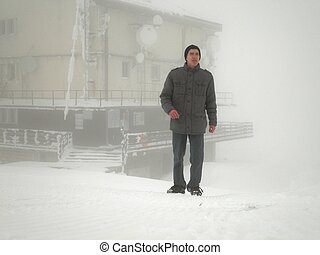 perdido, blizzard, homem
