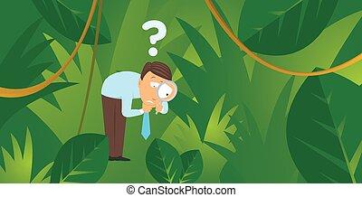 perdido, buscando, selva, hombre de negocios, nuevo, mercados, o