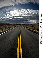 perdido, carretera, -, vertical, versión