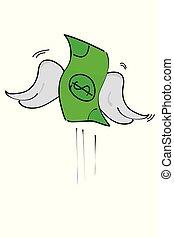 perdido, dinero, aislado, blanco, dólar, ilustración