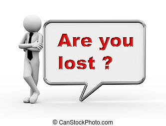 perdido, -, fala, homem negócios, tu, bolha, 3d