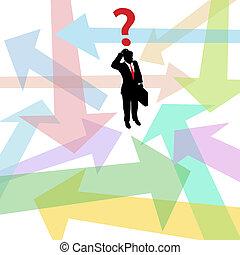 perdido, negócio, pergunta, decisão, setas, confundido, homem