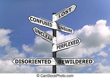 perdido, y, confuso, poste indicador