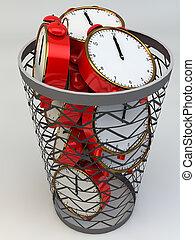 perdiendo tiempo, concept:, despertadores, en, el, basura