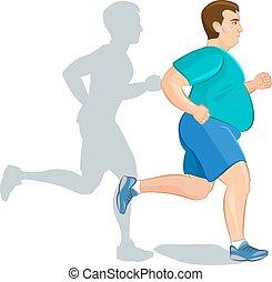 perdita, after., concetto, peso cosciente, concetto, cardio, grasso, jogging, correndo, salute, illustrazione, uomo, addestramento, uomo, cartone animato, prima