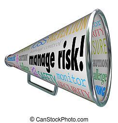 perdita, conformità, rischio, amministrare, responsabilità, limite, bullhorn, megafono