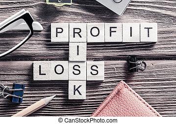 perdita, cubo, rischio, profitto, legno, posto lavoro, parole, raccolto
