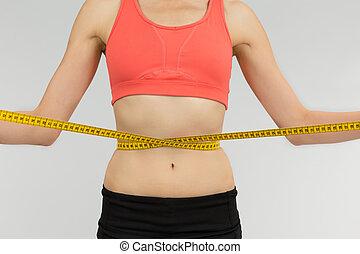perdita, donna, nastro, peso, misura