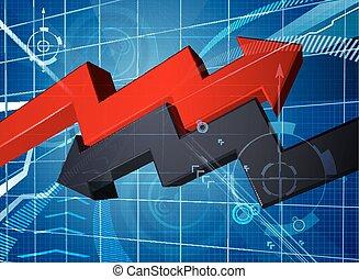 perdita, freccia, affari, profitto, grafico, fondo