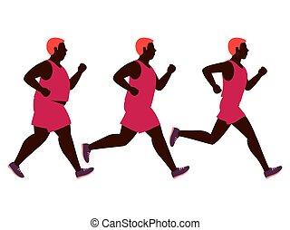 perdita, magro, illustration., peso, secondo, isolato, grasso, correndo, jogging, vettore, fondo, bianco, uomo, prima