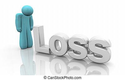 perdita, morte, isolamento, illustrazione, persona, tristezza, solo, depressione, 3d