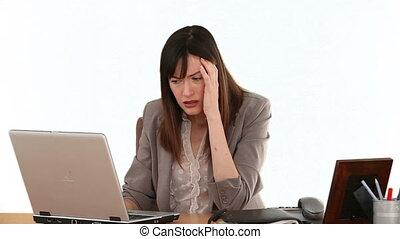 perdre, elle, ordinateur portable, femme affaires, devant, espoir