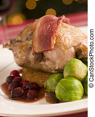 perdrix, pomme terre, brussel, jus, rôti, canneberge,...
