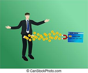 perdu, argent, aimant, crédit, homme affaires, carte