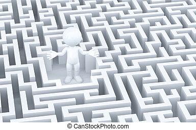perdu, dans, labyrinthe