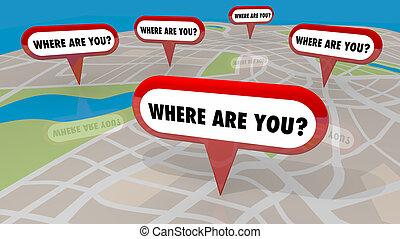 perdu, emplacements, où, render, vous, carte, illustration, epingles, 3d