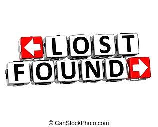 perdu, texte, bouton, ici, trouvé, déclic, bloc, 3d