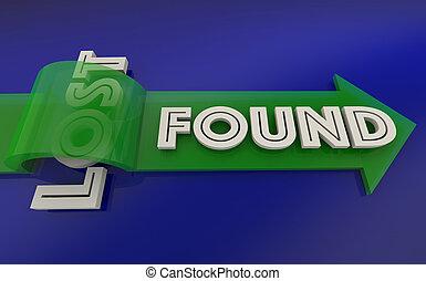 perdu, trouvé, flèche, sur, mot, 3d, illustration