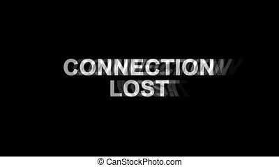 perdu, tv, texte, effet, déformation, glitch, connexion, animation, 4k, numérique, boucle