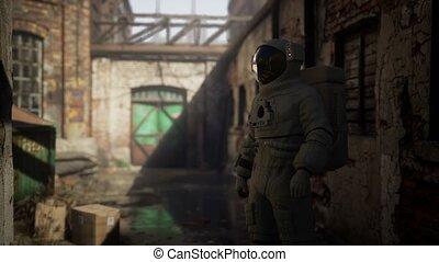 perdu, usine, vieux, astronaute, industriel, abandonnés, bâtiments