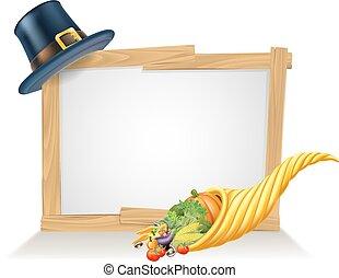 peregrino, señal, sombrero, acción de gracias, cornucopia