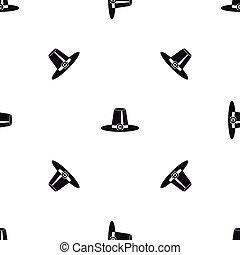 peregrino, sombrero, patrón, seamless, negro