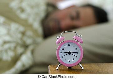 perezoso, acostado, cama, hombre